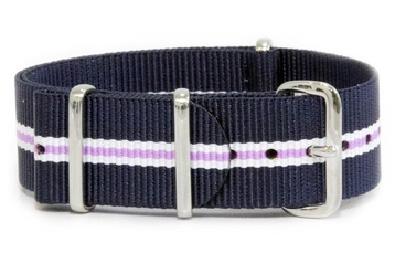 Blue, white and purple watch strap