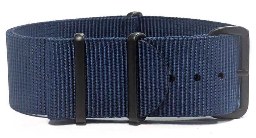 Navy blue watch strap with black PVD Hardware